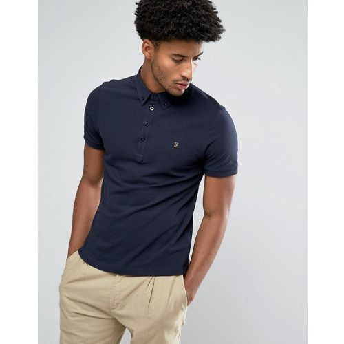 Męskie koszulki polo, Farah Merriweather Short Sleeve Marl Polo Shirt in True Navy - Navy