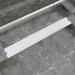 vidaXL Kratka odpływowa, liniowa, 830x140 mm, wzór w kropki, stal nierdzewna Darmowa wysyłka i zwroty
