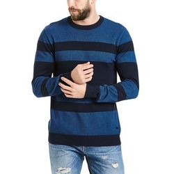sweter BENCH - Structured Stripe C Neck Dark Navy Blue (NY031) rozmiar: M