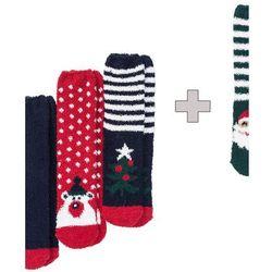 Miękkie skarpety bożonarodzeniowe 3 + 1 (4 pary) bonprix ciemnoniebiesko-czerwono-zielony wzorzysty