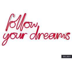 SELSEY Neon na ścianę Letely z napisem Follow Your Dreams czerwony