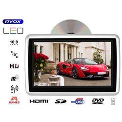 """Monitor samochodowy zagłówkowy LED 10"""" HD z HDMI DVD USB SD IR FM GRY 12V"""