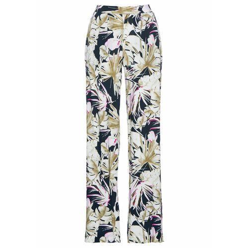 Spodnie damskie, Spodnie z wiskozy bonprix ciemnoniebiesko-fuksja w roślinny wzór
