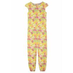 Kombinezon dziewczęcy z dżerseju, bawełna organiczna bonprix kremowy żółty w kwiaty
