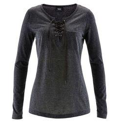 Shirt ze sznurowaniem, długi rękaw bonprix antracytowy melanż