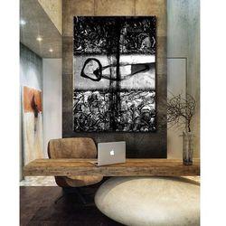 Popielato czarna abstrakcja - abstrakcyjne obrazy do modnego salonu rabat 10%
