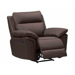 Fotel ze skóry bawolej z funkcją relaksu PAKITA - brązowy