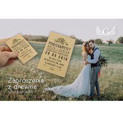 Zaproszenia ślubne z drewna - cyfrowy druk UV - ZAP004