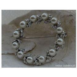 OLIMPIA - srebrna broszka z perłą i kryształkami