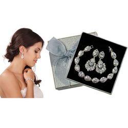 Kpl876 komplet ślubny, biżuteria ślubna z cyrkoniami b599/425 k686/6