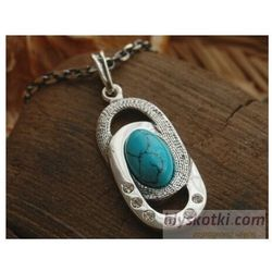 SARDYNIA - srebrny wisiorek z turkusem i kryształkami