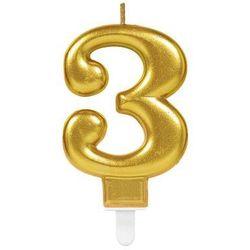 Świeczka cyferka złota trzy - 3