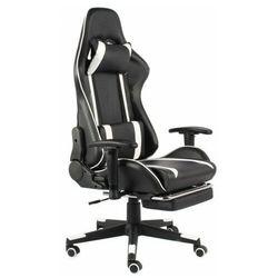 Biało-czarny fotel obrotowy z podnóżkiem - Epic Gamer