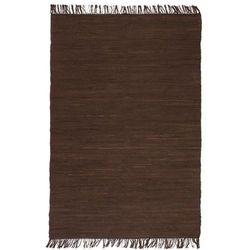 Ręcznie tkany dywanik Chindi, bawełna, 120x170 cm, brązowy