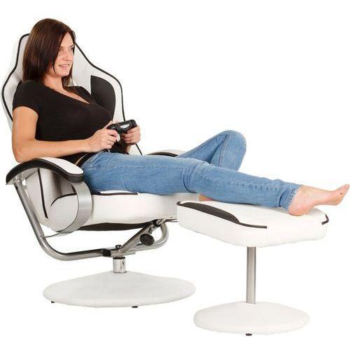 Fotele dla graczy, BIAŁO CZARNY FOTEL WYPOCZYNKOWY OBROTOWY DLA GRACZA PRZED TV - Biało - czarny