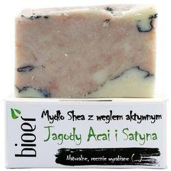 Mydło z masłem Shea z węglem aktywnym - Jagody Acai i Satyna - 130g - marki Bioer