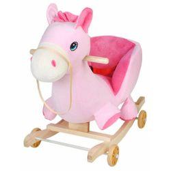 Bujak koń na kółkach konik różowy do bujania
