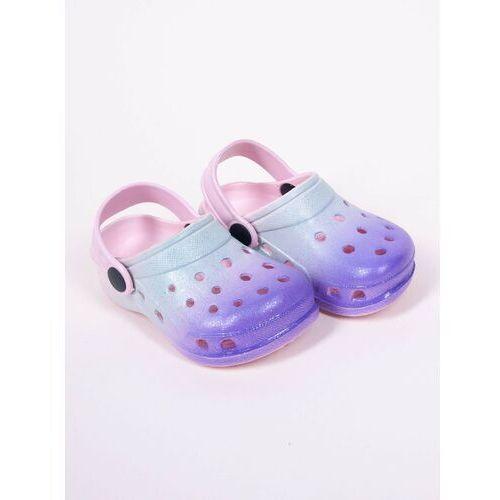 Klapki dziecięce, Klapki piankowe kroksy ogrodowe dziewczęce tęczowe niebiesko-fioletowe 35