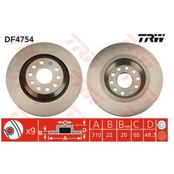 TARCZA HAM TRW DF4754 VW GOLF V 1.4 16V 06-, 1.4FSI, 1.6FSI, 1.9TDI 03-, 2.0GTI 04-
