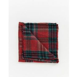 Twisted Tailor pocket square in red tartan - Red