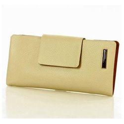 Skórzany portfel damski organizer 0930D Beige - Monnari