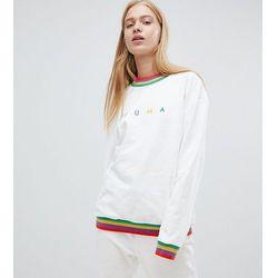 Puma Exclusive Oversized Organic Cotton Rainbow Sweatshirt In White - White