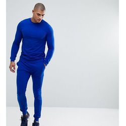ASOS TALL Tracksuit Muscle Sweatshirt/Super Skinny Jogger In Bright Blue - Blue