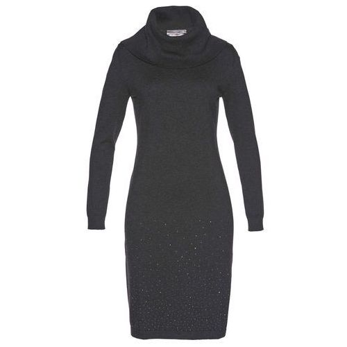 Suknie i sukienki, Sukienka dzianinowa bonprix antracytowy melanż