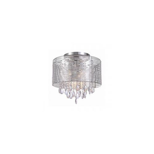 Lampy sufitowe, Plafon LAMPA sufitowa FELLA MXM2130/3 SL Italux abażurowa OPRAWA kryształowa glamour crystal srebrny