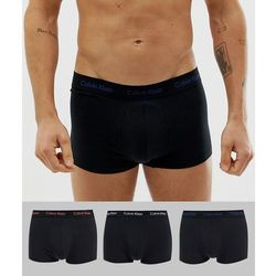 Calvin Klein Cotton Stretch 3 pack low rise trunks in black - Black