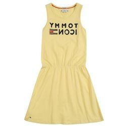 TOMMY HILFIGER Sukienka 'ESSENTIAL KNIT DRESS SLVLS' granatowy / cytrynowy