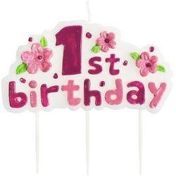 Świeczka na pikerach 1st Birthday różowa - 1 szt.