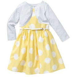 Sukienka + pasek + bolerko (3 części) bonprix jasnożółto-biały w groszki