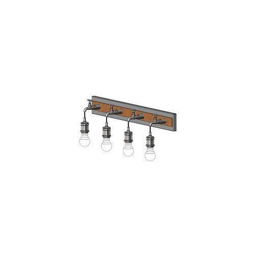 Lampy ścienne, Kinkiet Eglo Goldcliff 49104 lampa ścienna spot listwa 4x60W E27 srebrny-antyczny/czarny