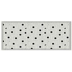 Winylowy chodnik MAZY w etnicznym stylu – 160 × 66 cm – kolor czarno-biały