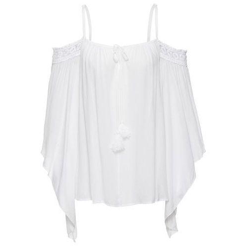 Bluzki, Bluzka z odsłoniętymi ramionami bonprix biały