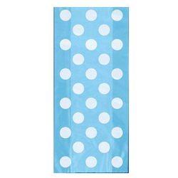 Torebki prezentowe błękitne w białe kropki - 28,5 x 12,5 cm - 20 szt.