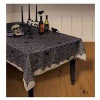 Obrusy, Obrus czarny w pajęczyny na Halloween 152 x 213 cm - 1 szt.