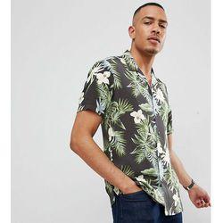 ASOS DESIGN Tall Regular Fit Hawaiian Shirt With Revere Collar In Black - Black
