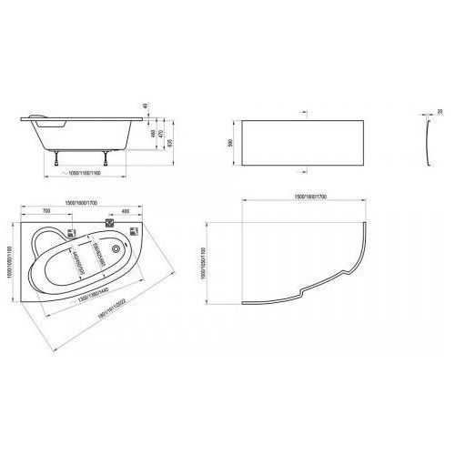 Wanny, Ravak Asymmetric 160 x 105 (C471000000)
