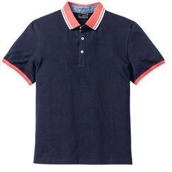 Shirt polo z kontrastowym kołnierzykiem bonprix ciemnoniebieski