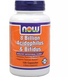 8 Billion Acidophilus & Bifidus 8 miliardów bakterii probiotyk 120 kapsułek NOW FOODS