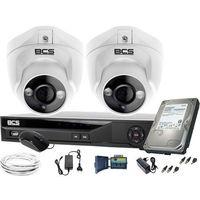 Zestawy monitoringowe, ZM11971 BCS zestaw monitoringu kamery 2szt. BCS-DMQE1500IR3-B BCS-XVR04014KE-II 1TB