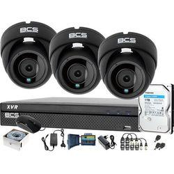 3x BCS-DMQ2203IR3-G BCS-XVR0401-IV Zestaw monitoringu kamery rejestrator akcesoria