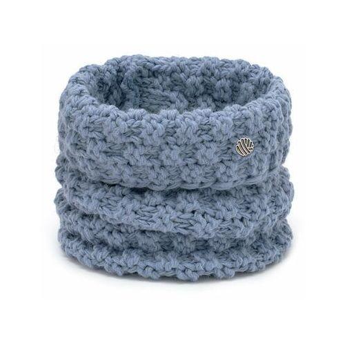 Nakrycia głowy i czapki, Komplet damski o grubym splocie- czapka i komin PaMaMi - Jeansowy