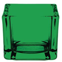 Świecznik na podgrzewacze kwadratowy | zielony | 60x60x(H)50mm | 6 szt.