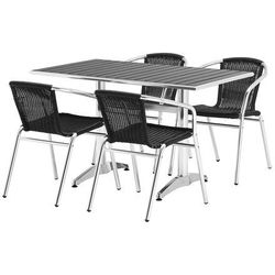 Zestaw – prostokątny stół kawiarniany + 4 krzesła