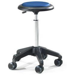 Mobilny stołek warsztatowy DIEGO, 440-570 mm, niebieska eko-skóra