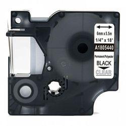 Taśma DYMO Rhino 1805440 poliestrowa 6mm x 5.5m przeźroczysta czarny nadruk - zamiennik