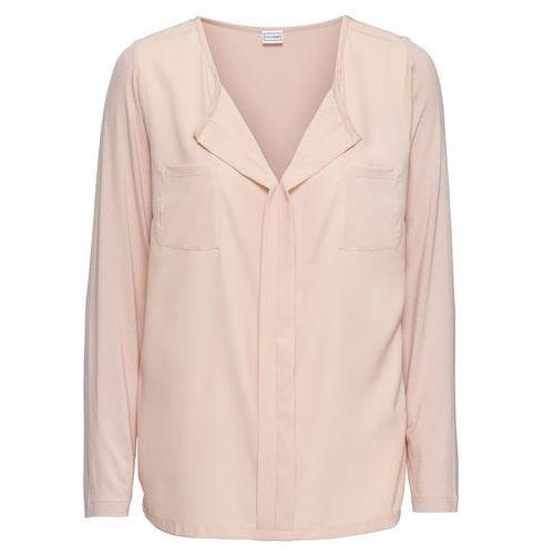 Bluzki, Shirt bluzkowy bonprix matowy beżowy